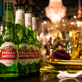 Stella Glitz by Rachelle Crockett - Food & Drink Alcohol & Drinks ( glamour, beer, glitz, stella artois, bottles, light, golden )