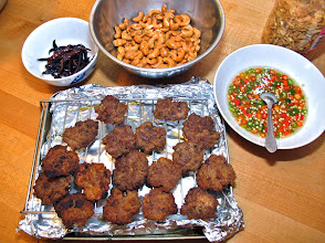 Photo: fried pork patties and other ingredients for the bitter melon salad