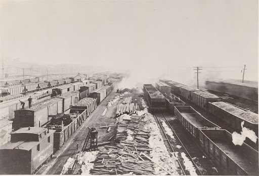 Philadelphia & Reading Railroad, Rutherford, Penna. Illuminated by GE form L-12 floodlighting projectors equipped with 1000 watt multiple lamps and stippled glass doors