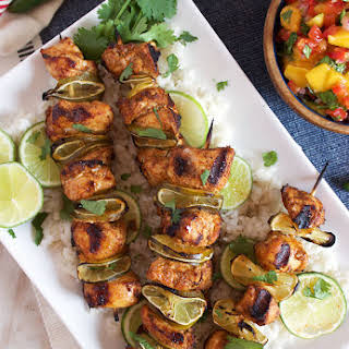 Grilled Chili Lime Chicken Kabobs with Mango Salsa.