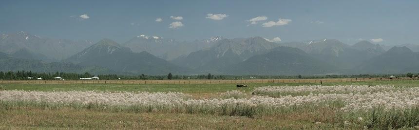 Die Berge des Großen Kaukasus kommen in Sicht.