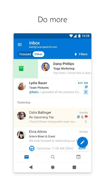 Microsoft Outlook: Organize Your Email & Calendar Android App Screenshot