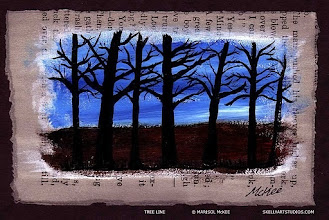 Photo: Tree Line. 5.5 x 3.5 in. Acrylics, India ink on antique paper (c. 1911). Sealed with a clear finish. Signed on the front; title and signature on the back. © Marisol McKee