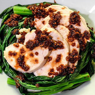Poached Chicken and Choy Sum with Garlic and Ginger Sauce