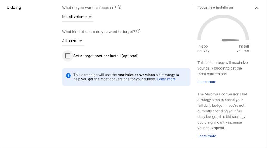 Screenshot of Maximize conversions bidding in App campaigns