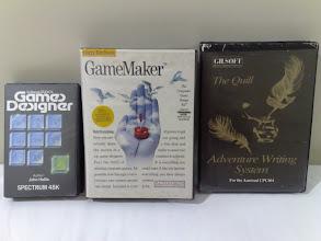 Photo: Spectrum Games Designer (John Hollis), C64 Gary Kitchen's GameMaker, Amstrad The Quill Adventure Writing System