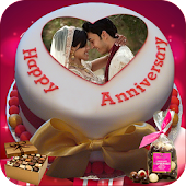 Name Photo On Anniversary Cake – Couple Frames HD
