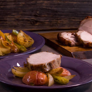 Roast Pork Loin or Chicken with Apples, Onions and Potatoes