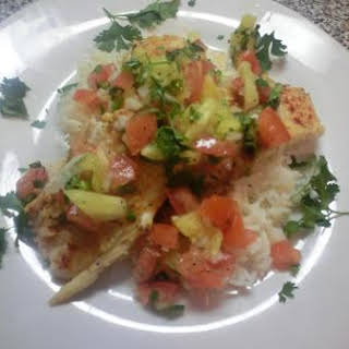 Pan Seared Tilapia With Spicy Pineapple Salsa.