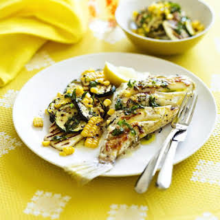 Mackerel with Halloumi and Corn Salad.