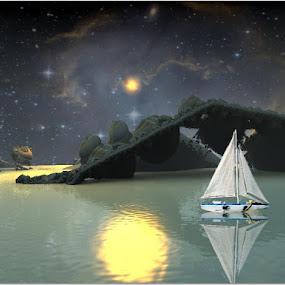 Traveling the fractal world by Linda Czerwinski-Scott - Illustration Sci Fi & Fantasy ( fantasy, photo montage, abstract art, illustration, fractal )