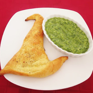 Witch Hat Calzones with Melted Witch Pesto