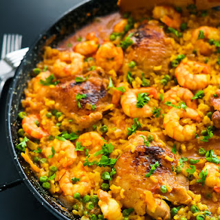 Chicken Thighs and Shrimp Paella