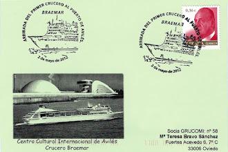 Photo: Matasellos de la llegada al puerto de Avilés del Crucero Braemar.