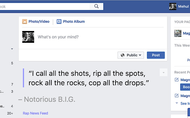 Rap News Feed for Facebook