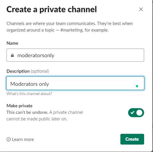 Creating a Slack Channel.