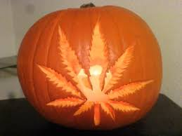 Stoner pumpkin carving ideas - pot leaf on a pumpkin