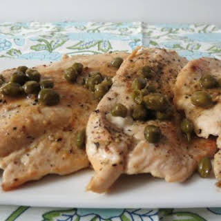 Chicken Piccata with lemon sauce and capers.