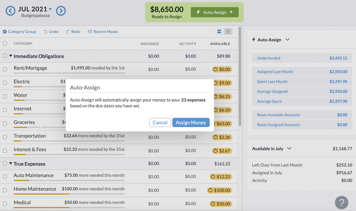 Auto-Assign can do some of your budgeting work for you.