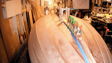 Photo: Attaching the stems, skeg, keel and keel rub strakes all in one fell swoop.