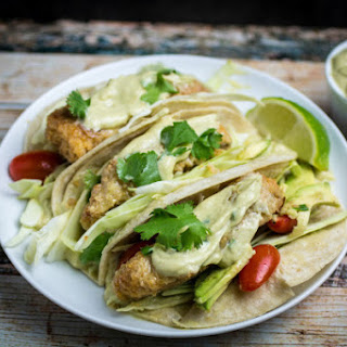 Oven Fried Fish Tacos With Spicy Avocado Cream Sauce.