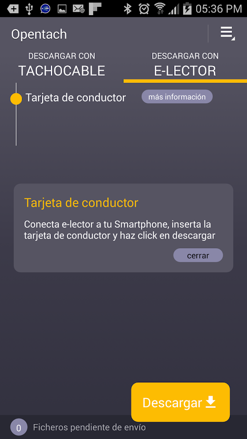 OPENTACH | Descarga de datos: captura de pantalla