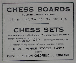 Photo: Chad Valley set being sold by Chess of Sutton Coldfield - ad. from Chess No. 105 dated June 1944.  No details of material used (probably wood) or size given. No image available.  The use of the word 'rough' may not refer to the quality of the pieces, but, rather, their proximity to the Staunton design.