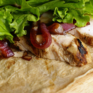 Chicken Wraps with Balsam-melized Red Onions.