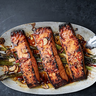 Broiled Salmon with Scallions and Sesame.