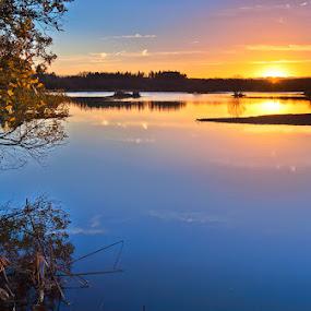 Riocaldo by Jose María Gómez Brocos - Landscapes Waterscapes ( water, lugo, begonte, riocaldo, sky, sunset, reflections, trees, lake, landscape, sun )
