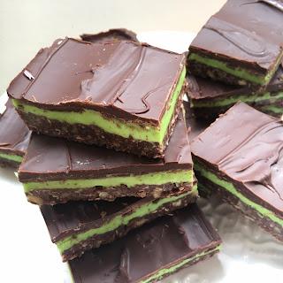 Chocolate mint Nanaimo bars.