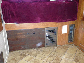 Photo: Furnace Drawer Mod: Larger heat vent, sealed under bed cold air intake with aluminum tape.