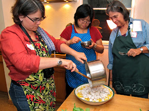 Photo: Lisa, Sarah and Peggy finishing their rice vermicelli salad