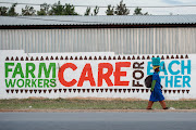 A farmworker on her way home after work walking past a mural of the Hlokomela slogan: 'Farm Workers Care for Each Other'.