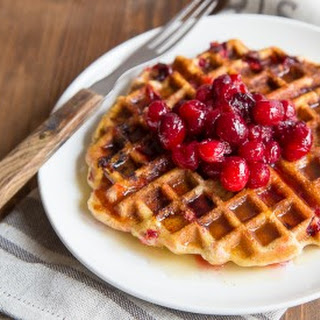 Cranberry Cornmeal Waffles + Cider Syrup.