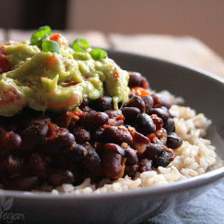 Burrito Bowl with Brown Rice, Black Beans and Guacamole.