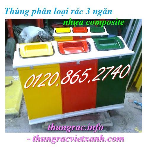 Thùng phân loại rác 3 ngăn nắp lật