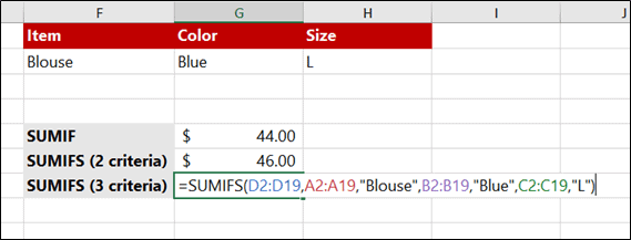 SUMIFS with 3 Criteria with text reference