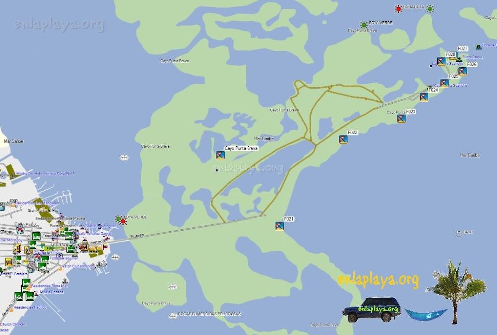 Mapa de Playas del Sector Tucacas, Estado Falcon, Venezuela
