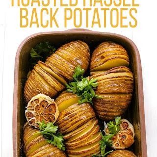 Hasselback Potatoes with Lemon and Roasted Garlic.