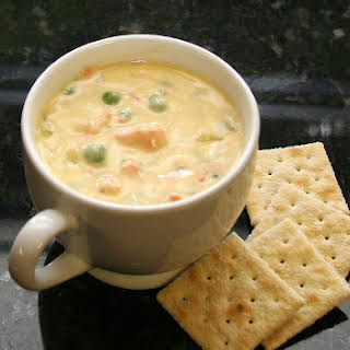 Hearty Cheese and Salmon Chowder.