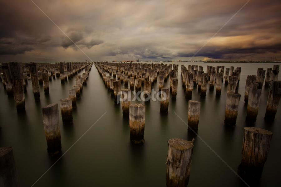 Heritage by David Millard - Landscapes Waterscapes ( exposure, water, melbourne, cloud, pier, piles, long, princes )