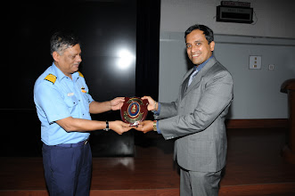 "Photo: Rear Admiral P. C. Lal, Chief Technical Officer Commanding, presenting the Naval Shield to Mr. Narendra Sahoo, CSI, who spoken the subject, ""Cyber Warfare"""