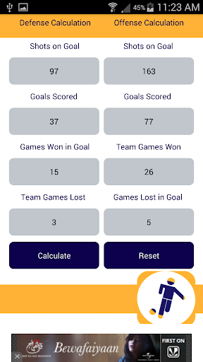 Football Stats Calculator