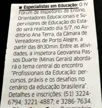 Recorte Jornal Correio do Povo