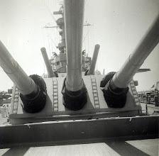 Photo: USS Wisconsin's 16 inch guns - Scotland on Midshipman cruise USS Wisconsin 1953