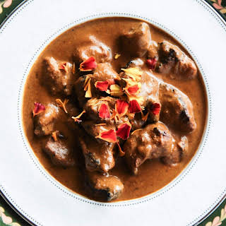 Fragrant And Super Creamy Curry With Pork Skewers.