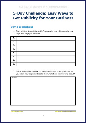 How to Attract Free Publicity - Bonus Challenge Worksheet 2