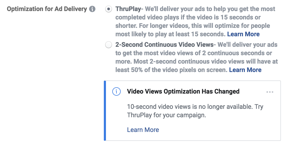 No 10 sec video view for selection in FB vid ads.