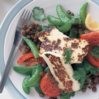 Warm Lentil And Sugar Snap Salad With Haloumi.